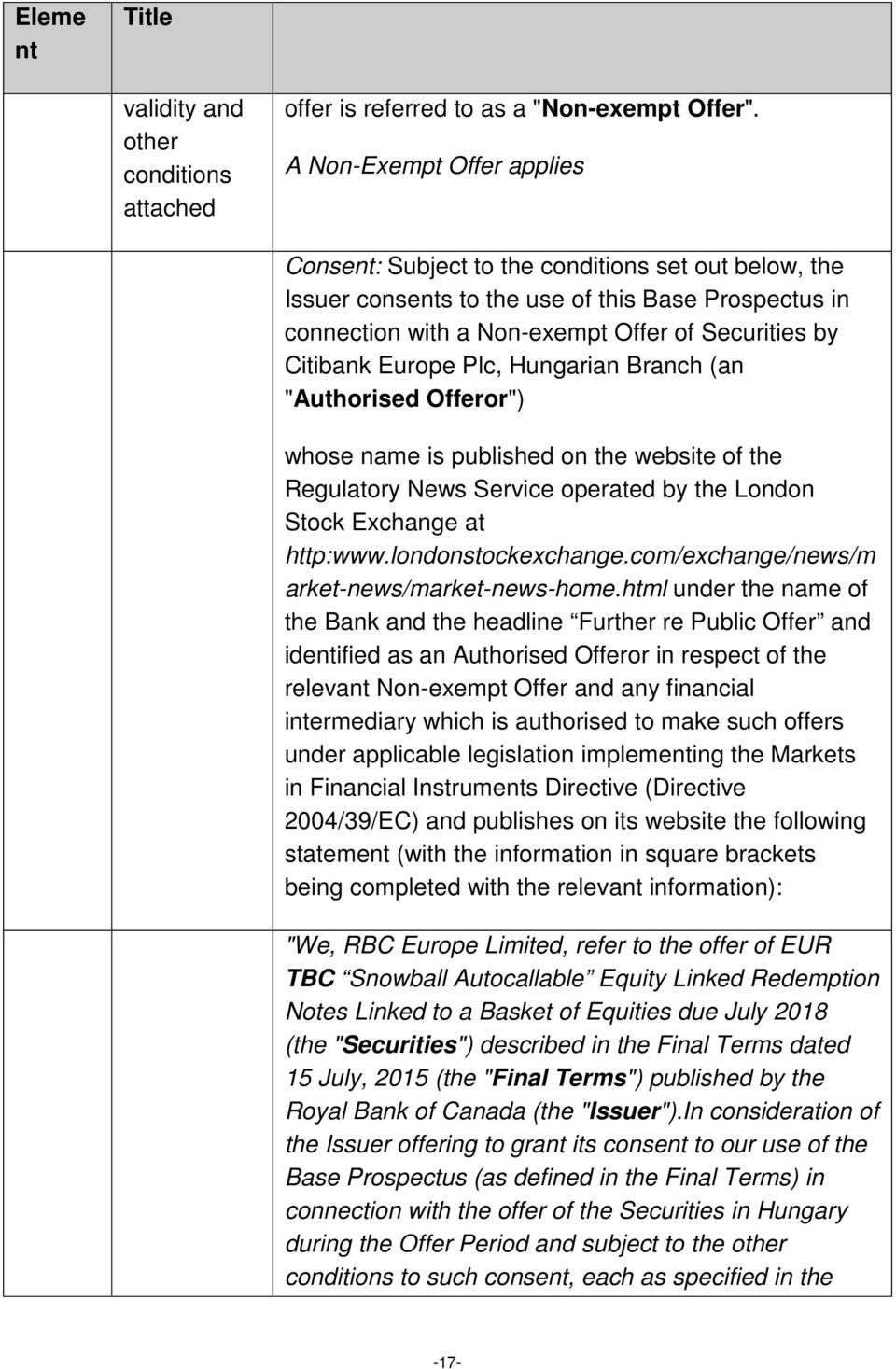 "Europe Plc, Hungarian Branch (an ""Authorised Offeror"") whose name is published on the website of the Regulatory News Service operated by the London Stock Exchange at http:www.londonstockexchange."