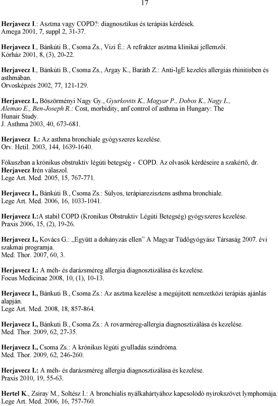 , Gyurkovits K., Magyar P., Dobos K., Nagy L., Alemao E., Ben-Joseph R.: Cost, morbidity, anf control of asthma in Hungary: The Hunair Study. J. Asthma 2003, 40, 673-681. Herjavecz I.