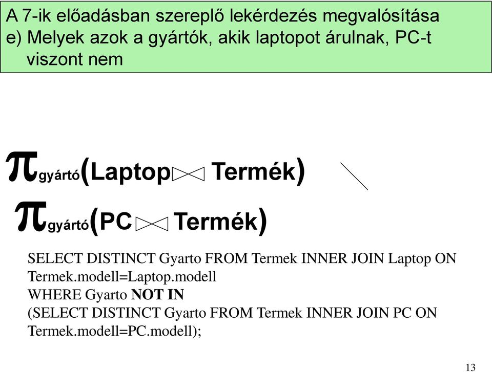 DISTINCT Gyarto FROM Termek INNER JOIN Laptop ON Termek.modell=Laptop.