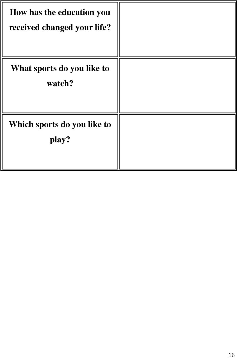 What sports do you like to