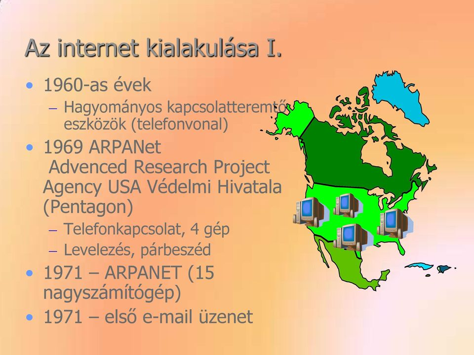 1969 ARPANet Advenced Research Project Agency USA Védelmi Hivatala