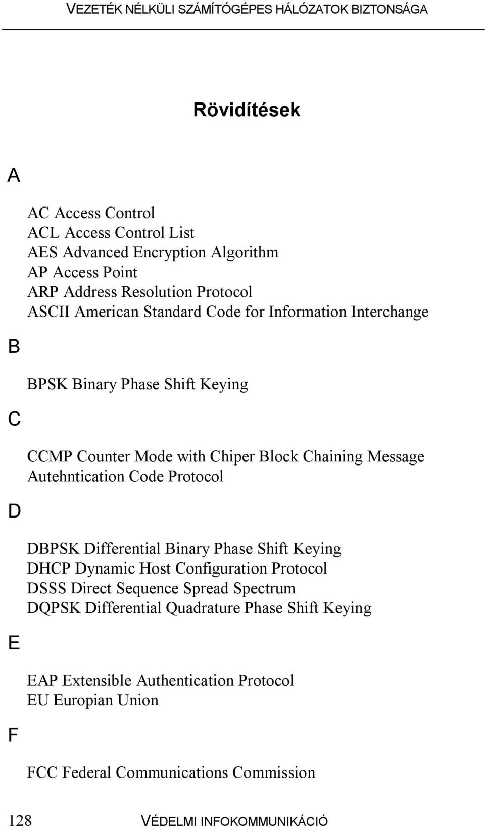 Protocol D DBPSK Differential Binary Phase Shift Keying DHCP Dynamic Host Configuration Protocol DSSS Direct Sequence Spread Spectrum DQPSK Differential
