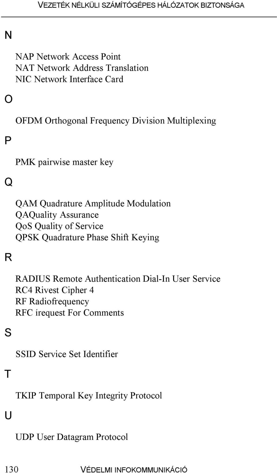 Quadrature Phase Shift Keying R RADIUS Remote Authentication Dial-In User Service RC4 Rivest Cipher 4 RF Radiofrequency RFC