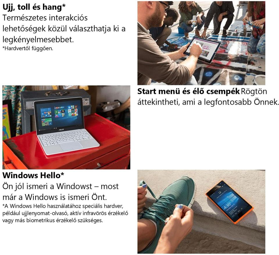 Windows Hello* Ön jól ismeri a Windowst most már a Windows is ismeri Önt.