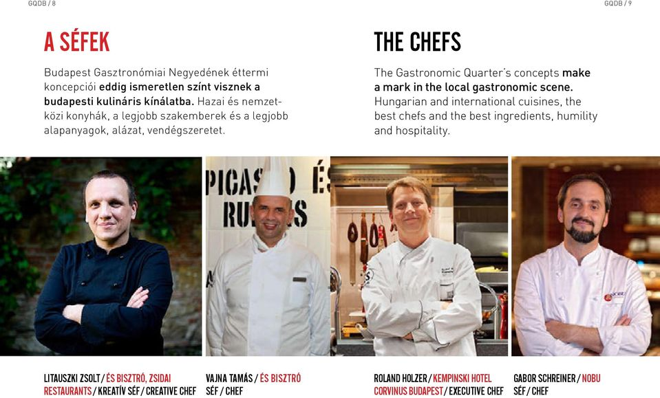 THE CHEFS The Gastronomic Quarter s concepts make a mark in the local gastronomic scene.