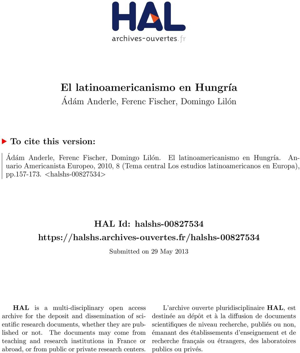 fr/halshs-00827534 Submitted on 29 May 2013 HAL is a multi-disciplinary open access archive for the deposit and dissemination of scientific research documents, whether they are published or not.