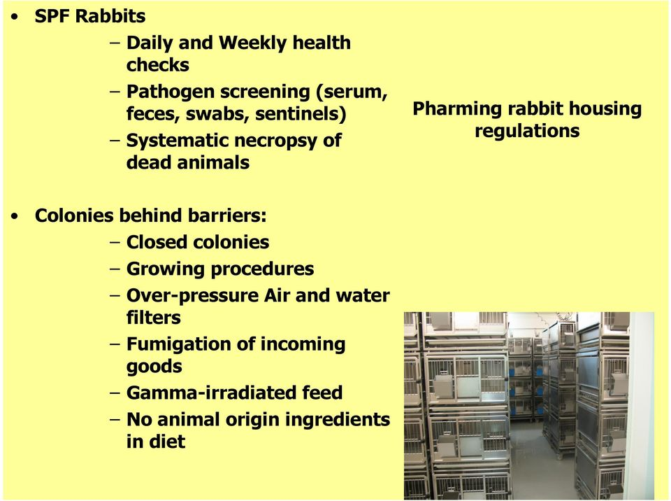 Colonies behind barriers: Closed colonies Growing procedures Over*pressure Air and