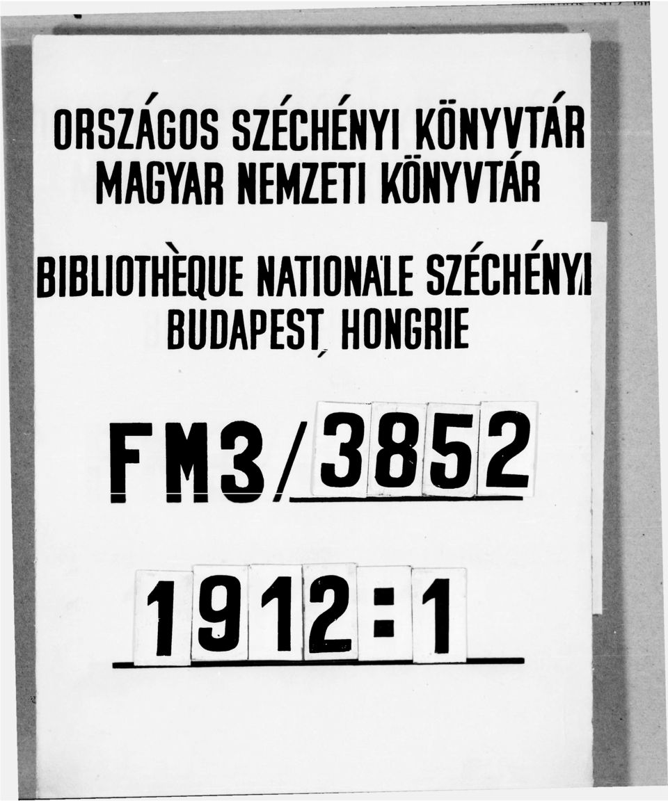 BIBLIOTHEOUE NATIONALE SZÉCHÉNYI