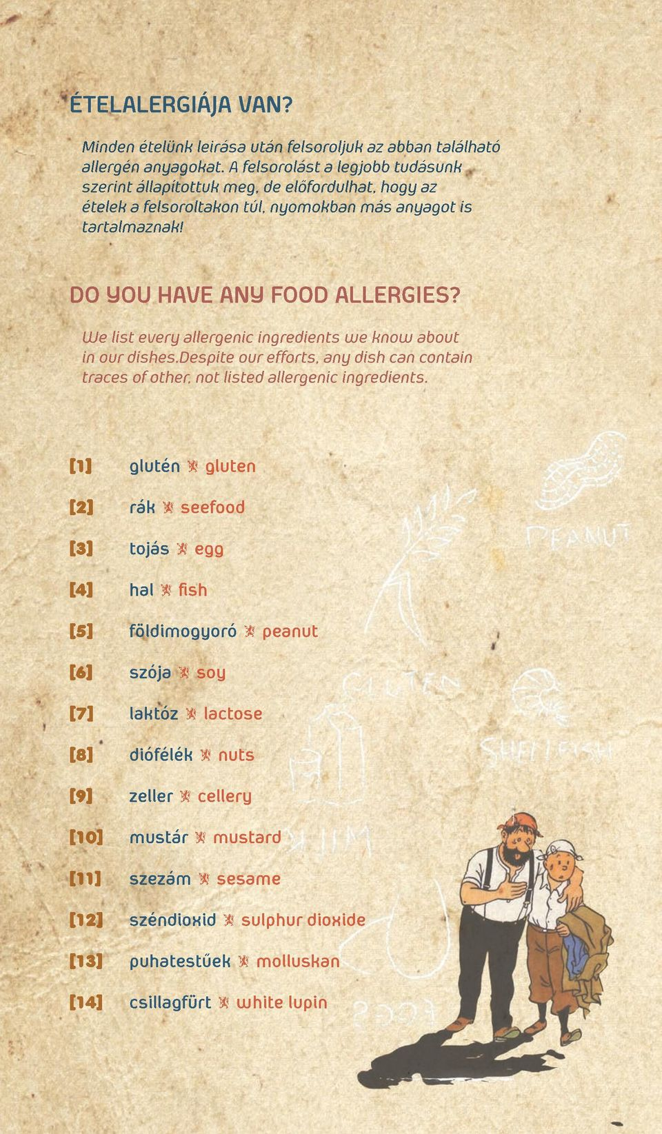 DO YOU HAVE ANY FOOD ALLERGIES? We list every allergenic ingredients we know about in our dishes.
