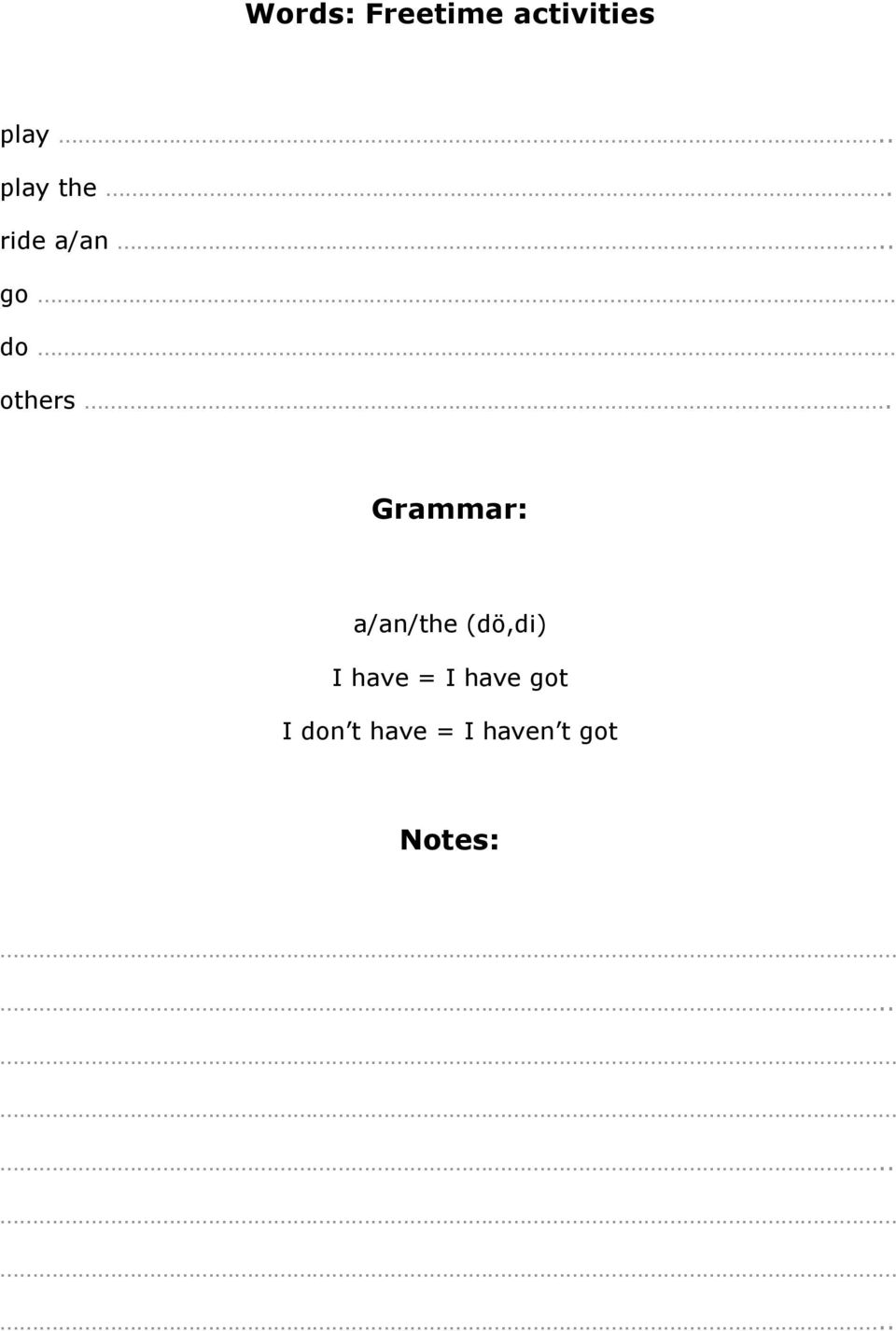 Grammar: a/an/the (dö,di) I have = I