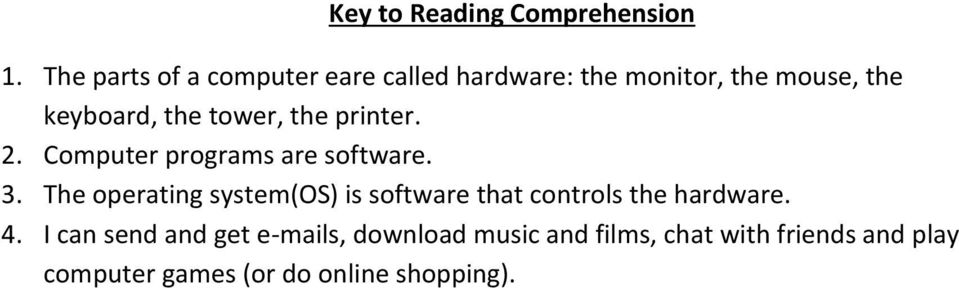 tower, the printer. 2. Computer programs are software. 3.