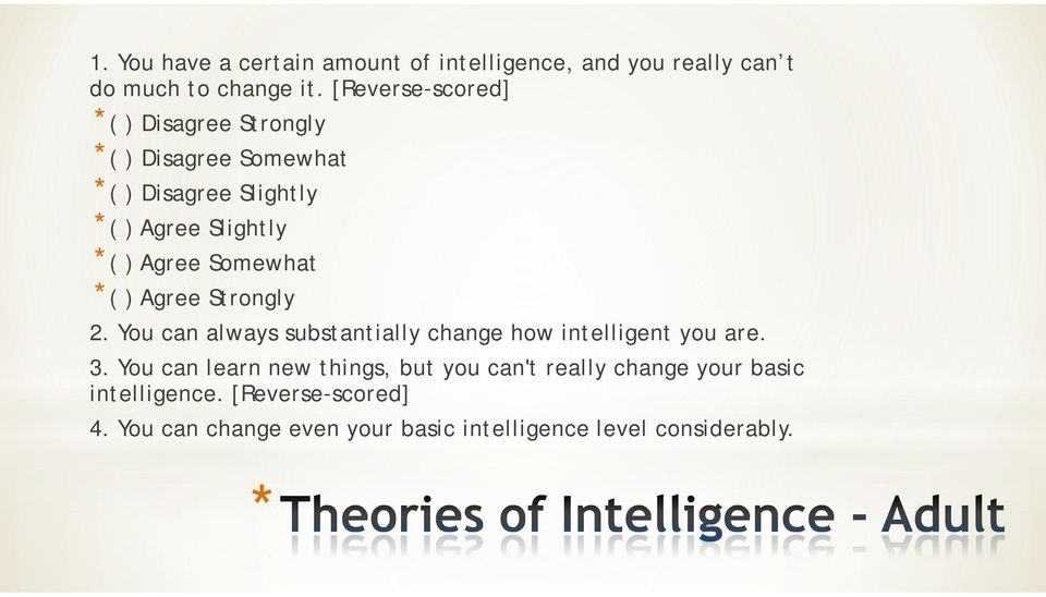Somewhat *( ) Agree Strongly 2. You can always substantially change how intelligent you are. 3.