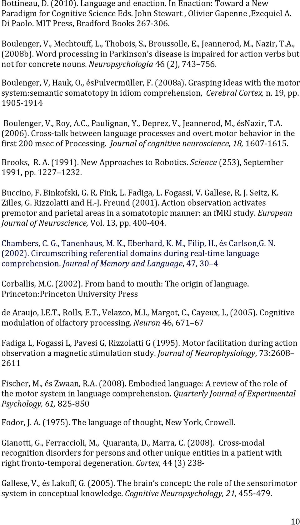 Neuropsychologia 46 (2), 743 756. Boulenger, V, Hauk, O., éspulvermüller, F. (2008a). Grasping ideas with the motor system:semantic somatotopy in idiom comprehension, Cerebral Cortex, n. 19, pp.