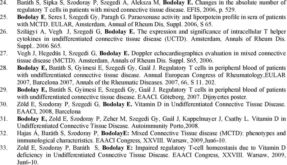 Szilágyi A, Vegh J, Szegedi G, Bodolay E. The expression and significance of intracellular T helper cytokines in undifferentiated connective tissue disease (UCTD). Amsterdam, Annals of Rheum Dis.