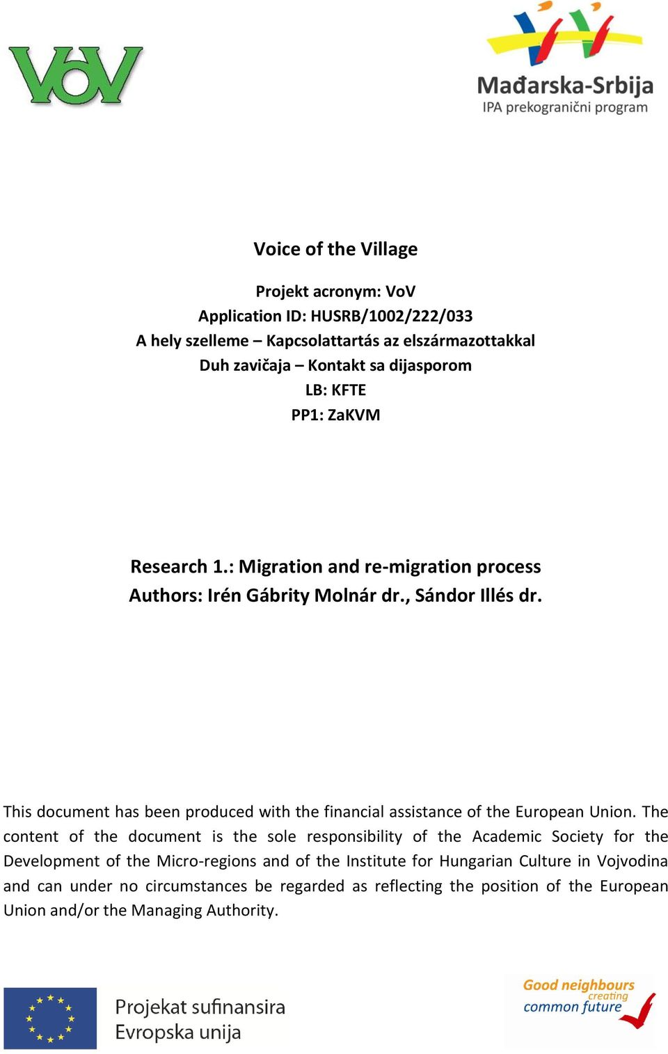 This document has been produced with the financial assistance of the European Union.