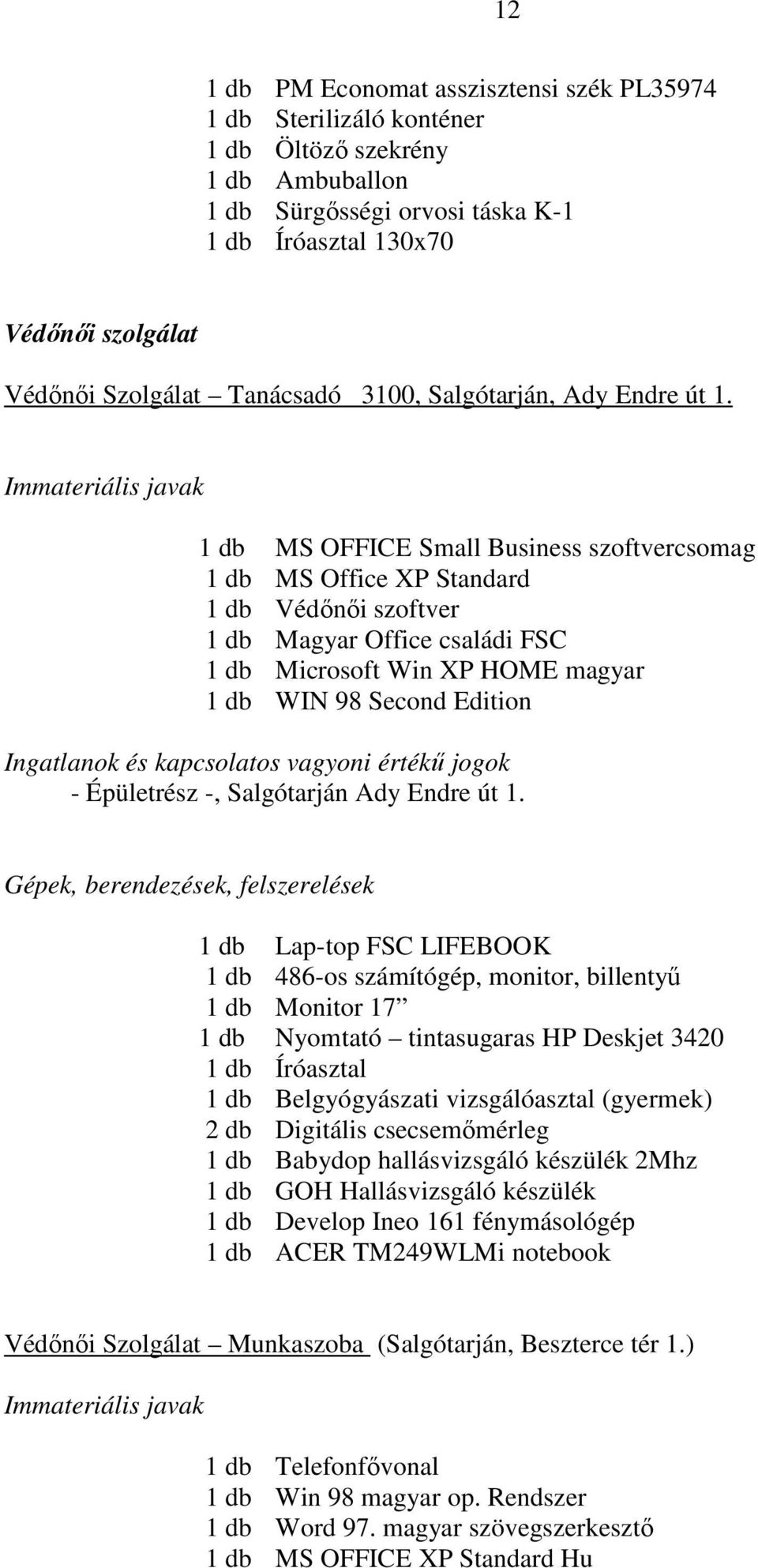 1 db MS OFFICE Small Business szoftvercsomag 1 db MS Office XP Standard 1 db Védınıi szoftver 1 db Magyar Office családi FSC 1 db Microsoft Win XP HOME magyar 1 db WIN 98 Second Edition - Épületrész