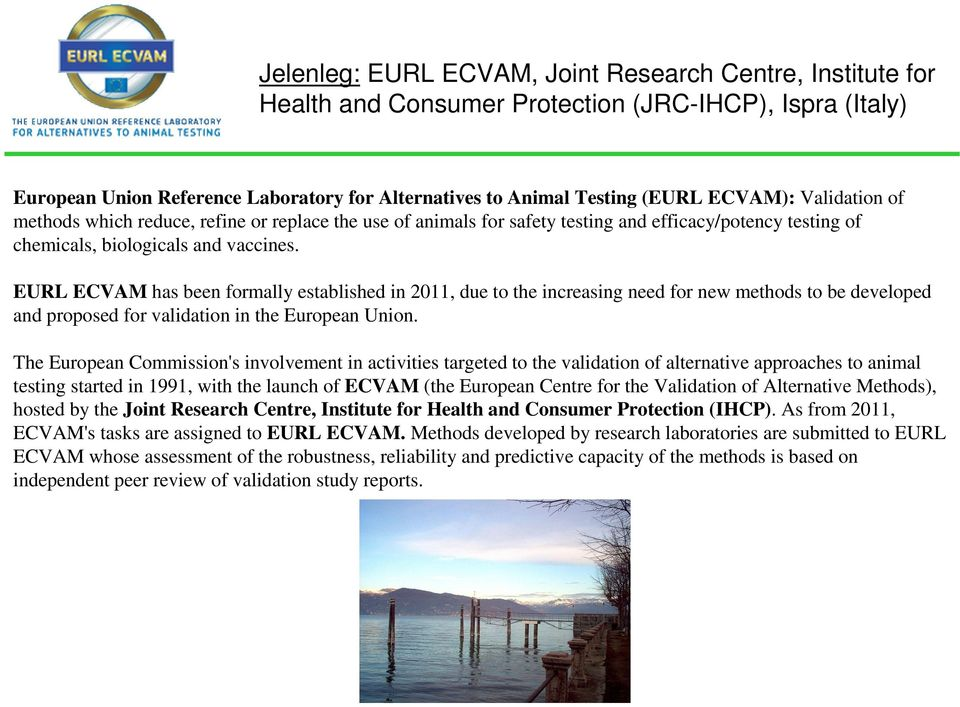 EURL ECVAM has been formally established in 2011, due to the increasing need for new methods to be developed and proposed for validation in the European Union.