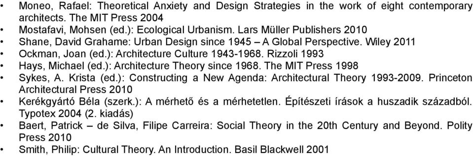 ): Architecture Theory since 1968. The MIT Press 1998 Sykes, A. Krista (ed.): Constructing a New Agenda: Architectural Theory 1993-2009. Princeton Architectural Press 2010 Kerékgyártó Béla (szerk.