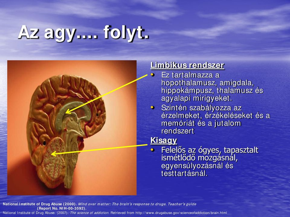 egyensúlyozásnál és testtartásnál. National Institute of Drug Abuse (2000). Mind over matter: The brain s response to drugs.