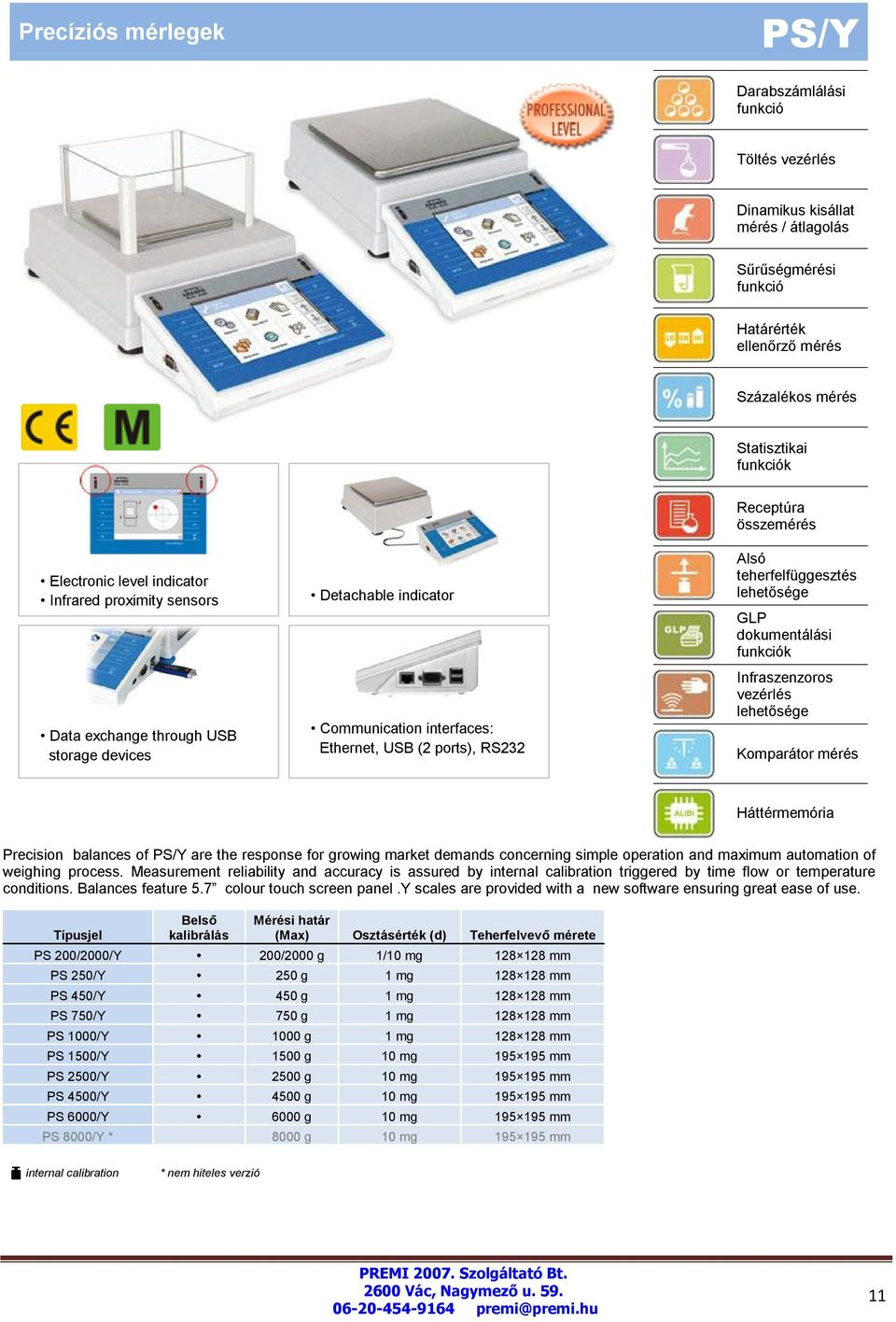 Precision balances of PS/Y are the response for growing market demands concerning simple operation and maximum automation of weighing process.