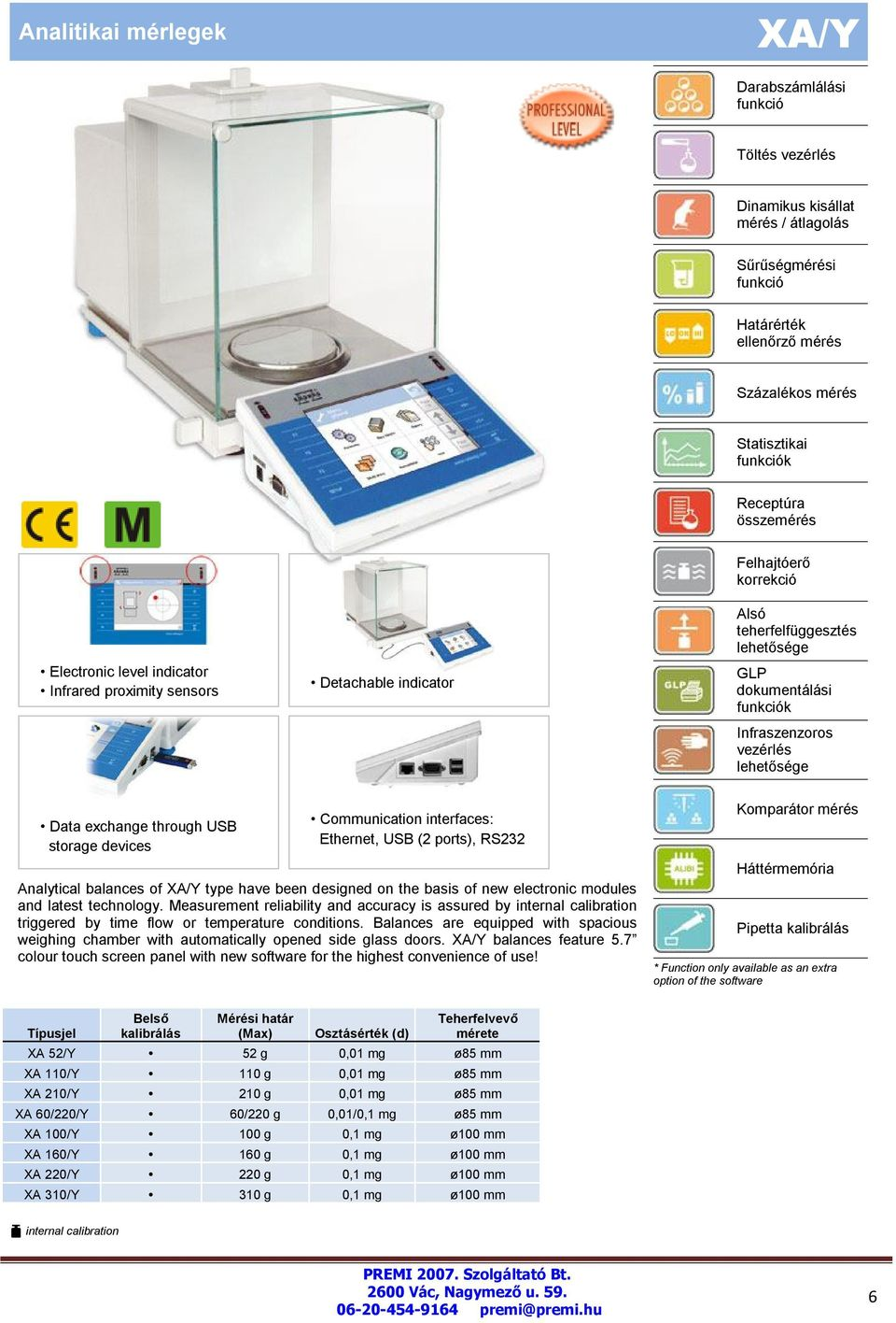 Analytical balances of XA/Y type have been designed on the basis of new electronic modules and latest technology.