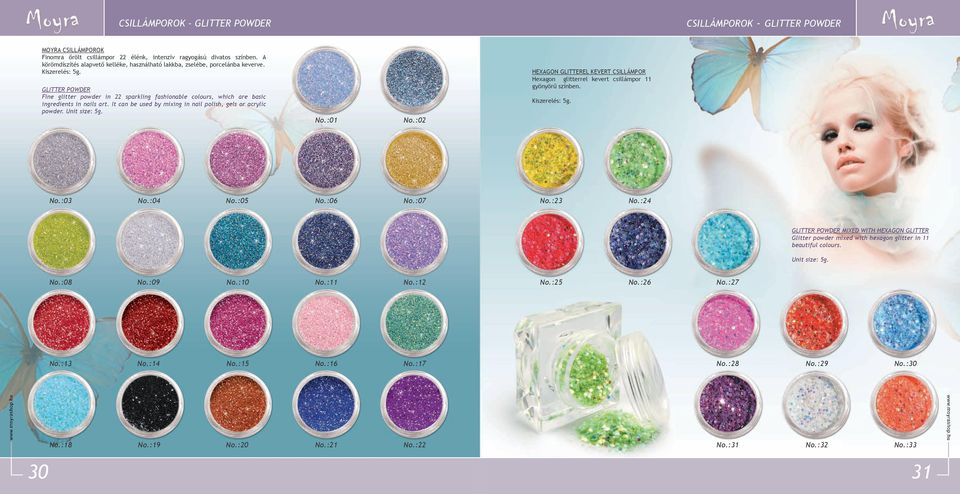 GLITTER POWDER Fine glitter powder in 22 sparkling fashionable colours, which are basic ingredients in nails art. It can be used by mixing in nail polish, gels or acrylic powder. Unit size: 5g.