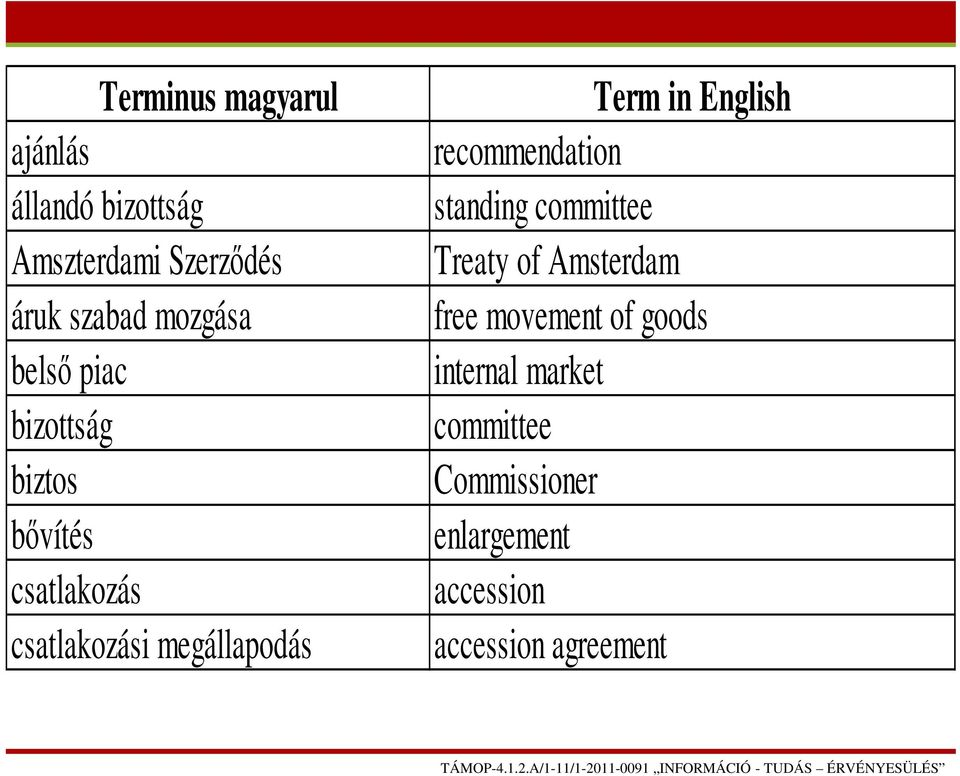 Term in English recommendation standing committee Treaty of Amsterdam free movement