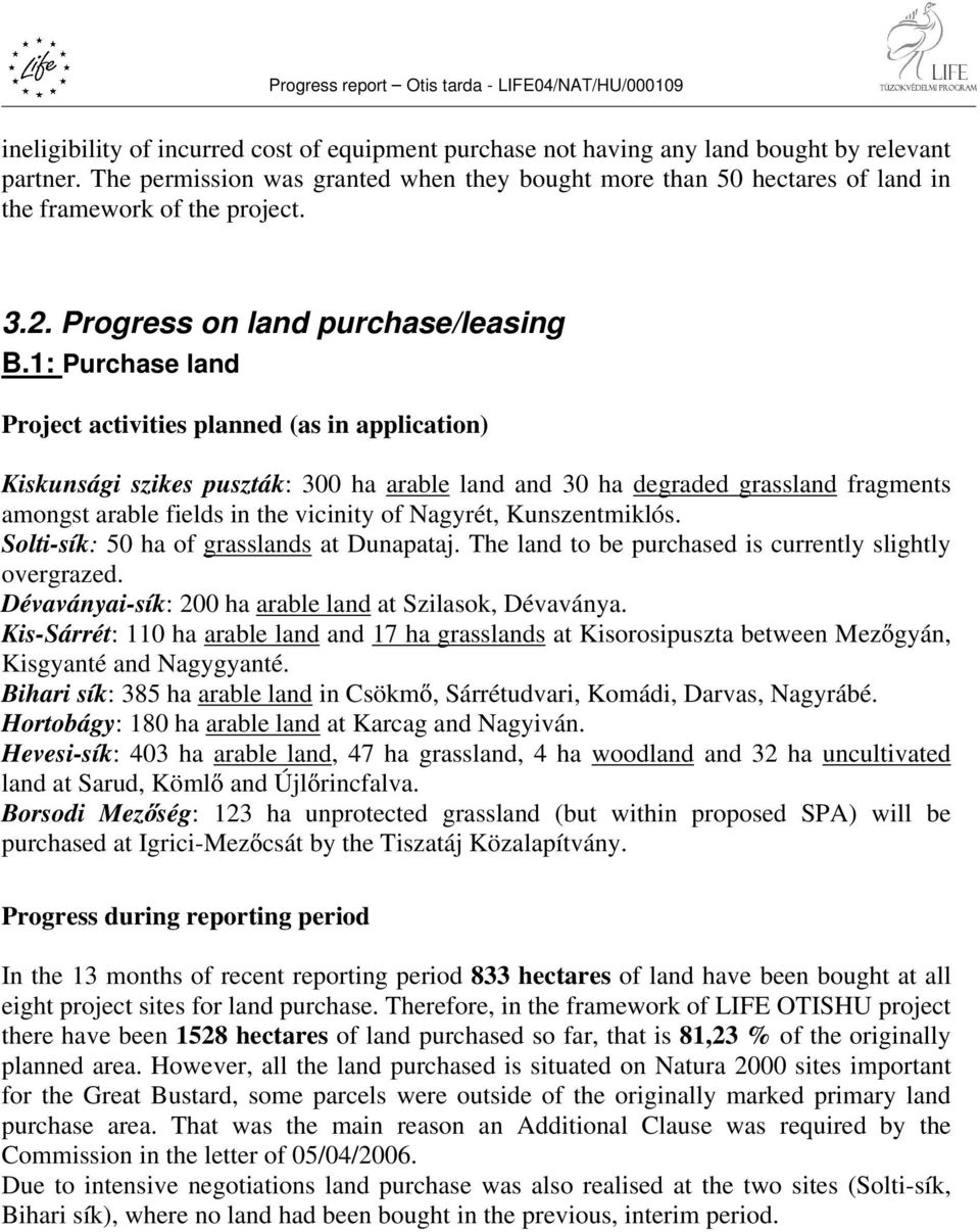 1: Purchase land Project activities planned (as in application) Kiskunsági szikes puszták: 300 ha arable land and 30 ha degraded grassland fragments amongst arable fields in the vicinity of Nagyrét,