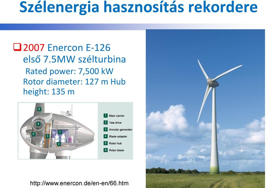 5MW szélturbina Rated power: 7,500 kw