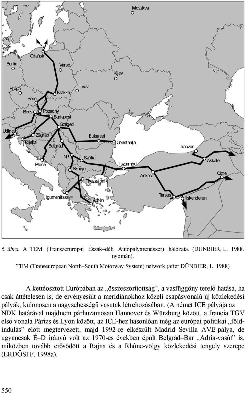 TEM (Transeuropean North South Motorway System) network (after DÜNBIER, L.