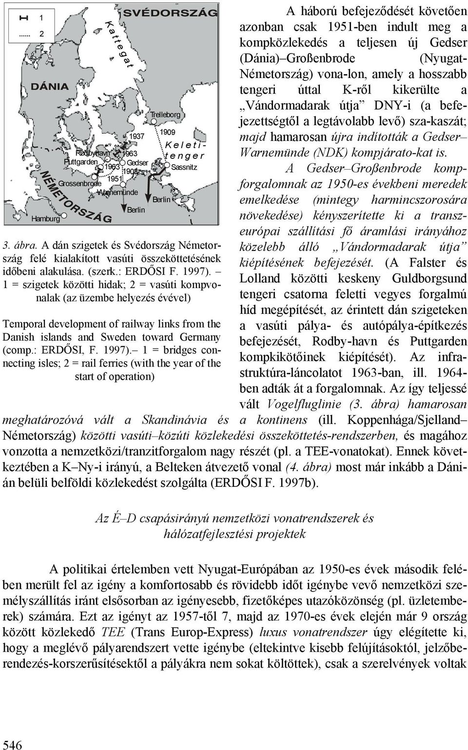 1 = szigetek közötti hidak; 2 = vasúti kompvonalak (az üzembe helyezés évével) Temporal development of railway links from the Danish islands and Sweden toward Germany (comp.: ERDŐSI, F. 1997).