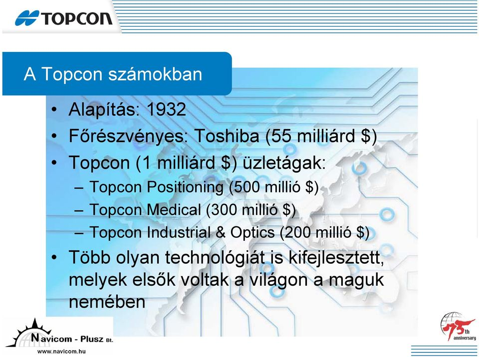 Medical (300 millió $) Topcon Industrial & Optics (200 millió $) Több