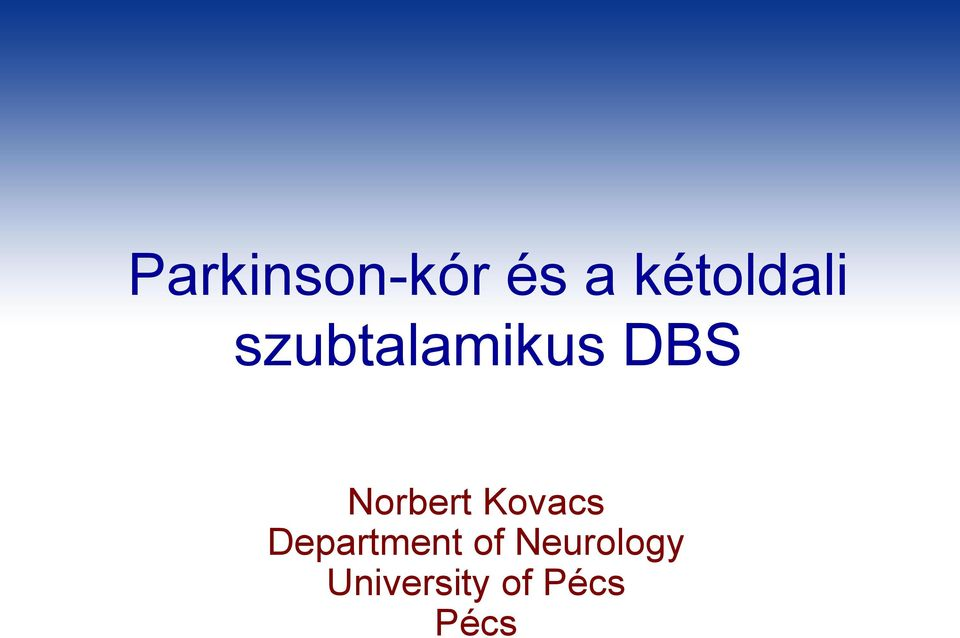 Norbert Kovacs Department
