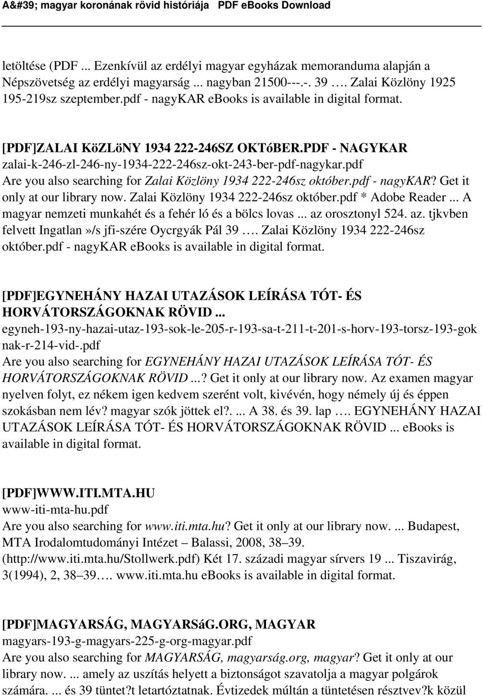 pdf Are you also searching for Zalai Közlöny 1934 222-246sz október.pdf - nagykar? Get it only at our library now. Zalai Közlöny 1934 222-246sz október.pdf * Adobe Reader.