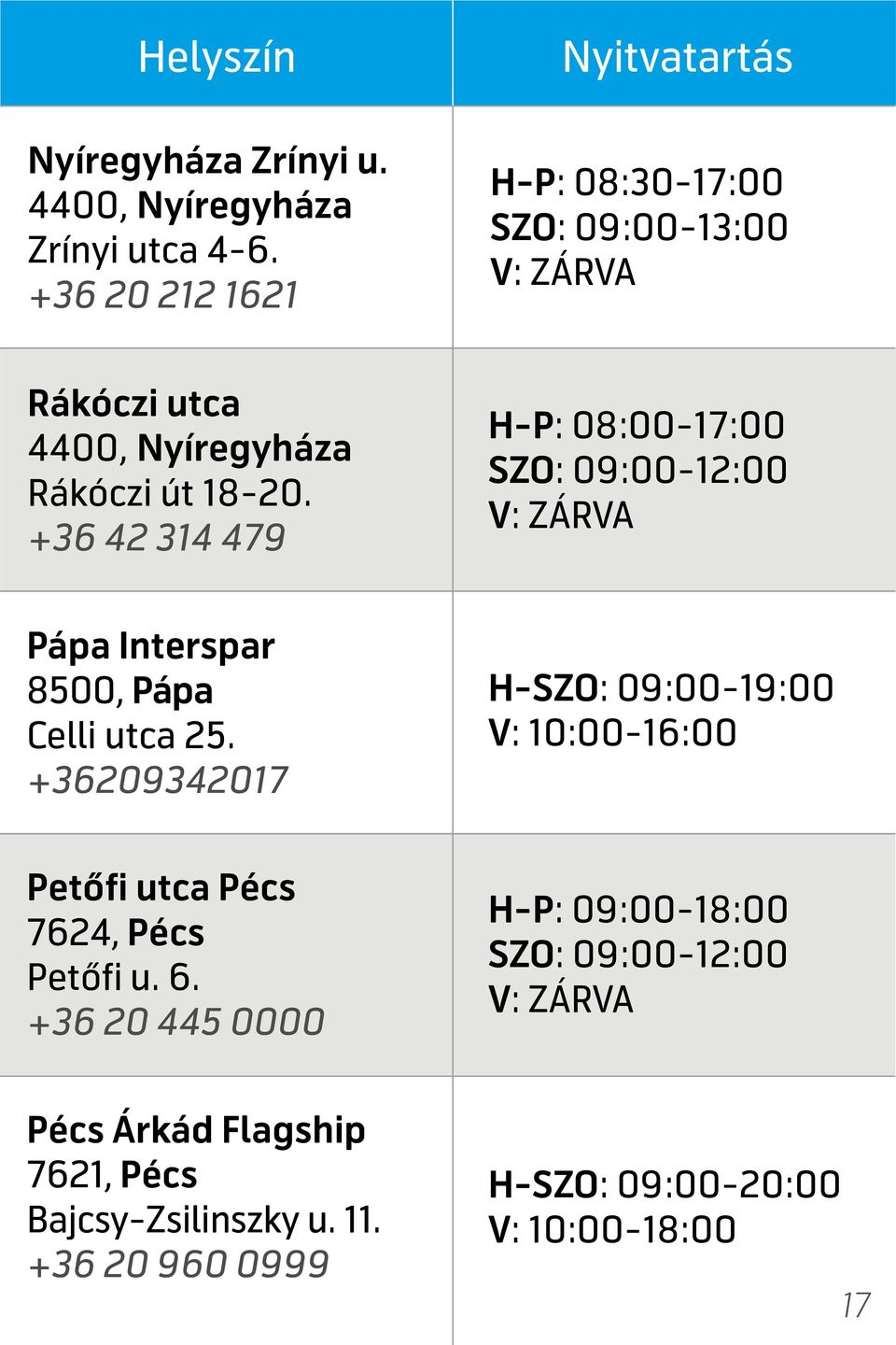 +36 42 314 479 H-P: 08:00-17:00 Pápa Interspar 8500, Pápa Celli utca 25.