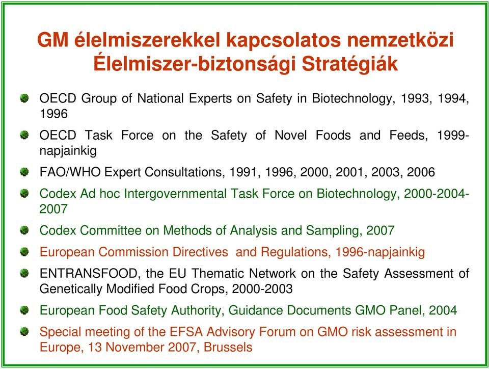 on Methods of Analysis and Sampling, 2007 European Commission Directives and Regulations, 1996-napjainkig ENTRANSFOOD, the EU Thematic Network on the Safety Assessment of Genetically Modified