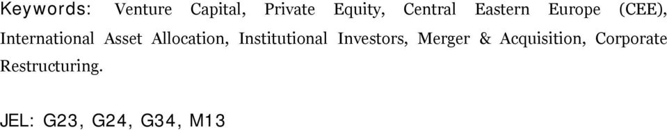 Allocation, Institutional Investors, Merger &