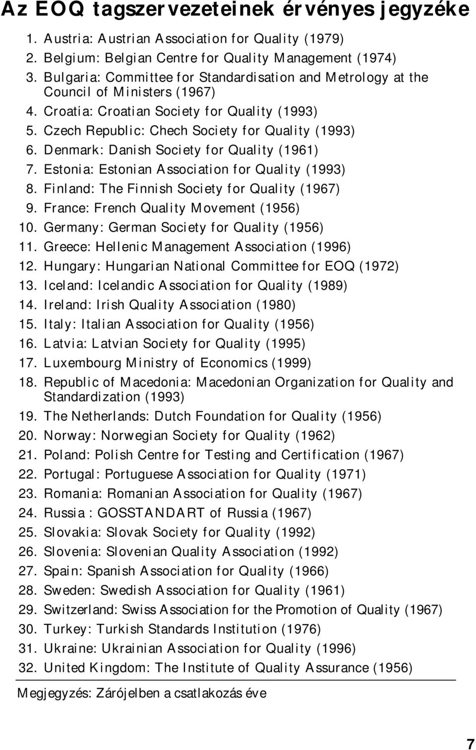 Denmark: Danish Society for Quality (1961) 7. Estonia: Estonian Association for Quality (1993) 8. Finland: The Finnish Society for Quality (1967) 9. France: French Quality Movement (1956) 10.