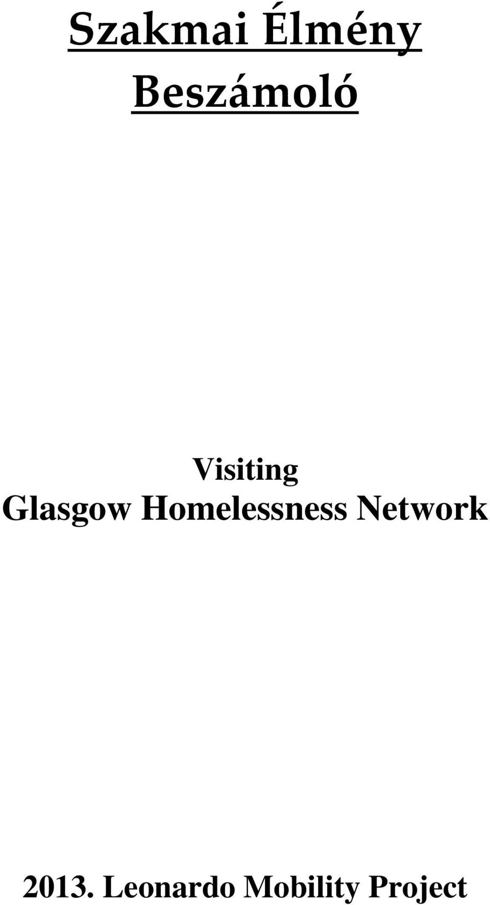 Glasgow Homelessness