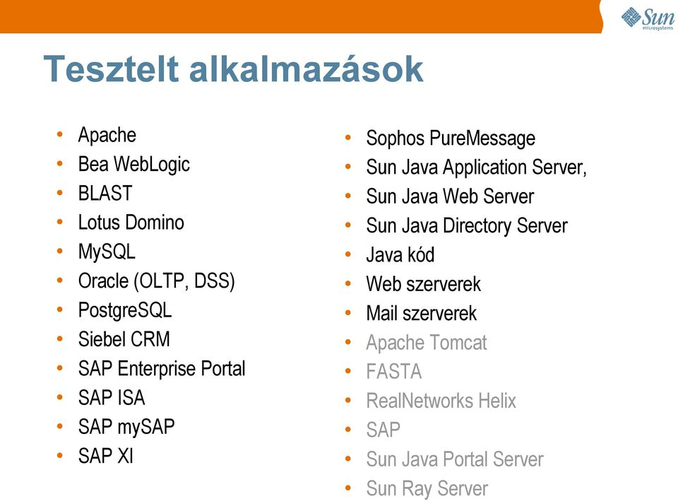 Java Application Server, Sun Java Web Server Sun Java Directory Server Java kód Web