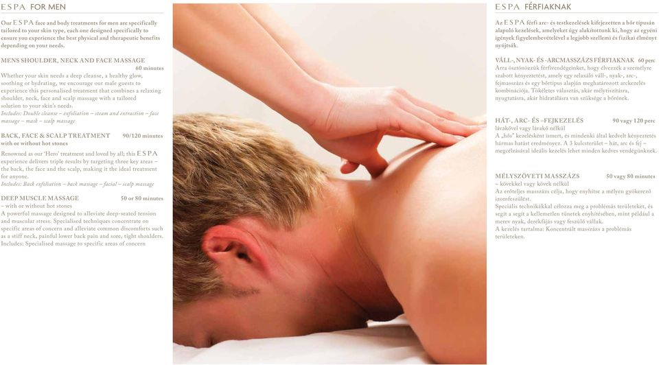 MENS SHOULDER, NECK AND FACE MASSAGE 60 minutes Whether your skin needs a deep cleanse, a healthy glow, soothing or hydrating, we encourage our male guests to experience this personalised treatment