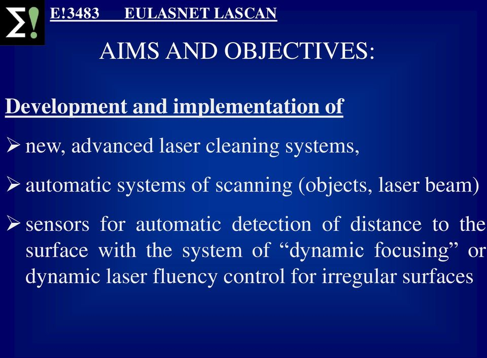 beam) sensors for automatic detection of distance to the surface with the