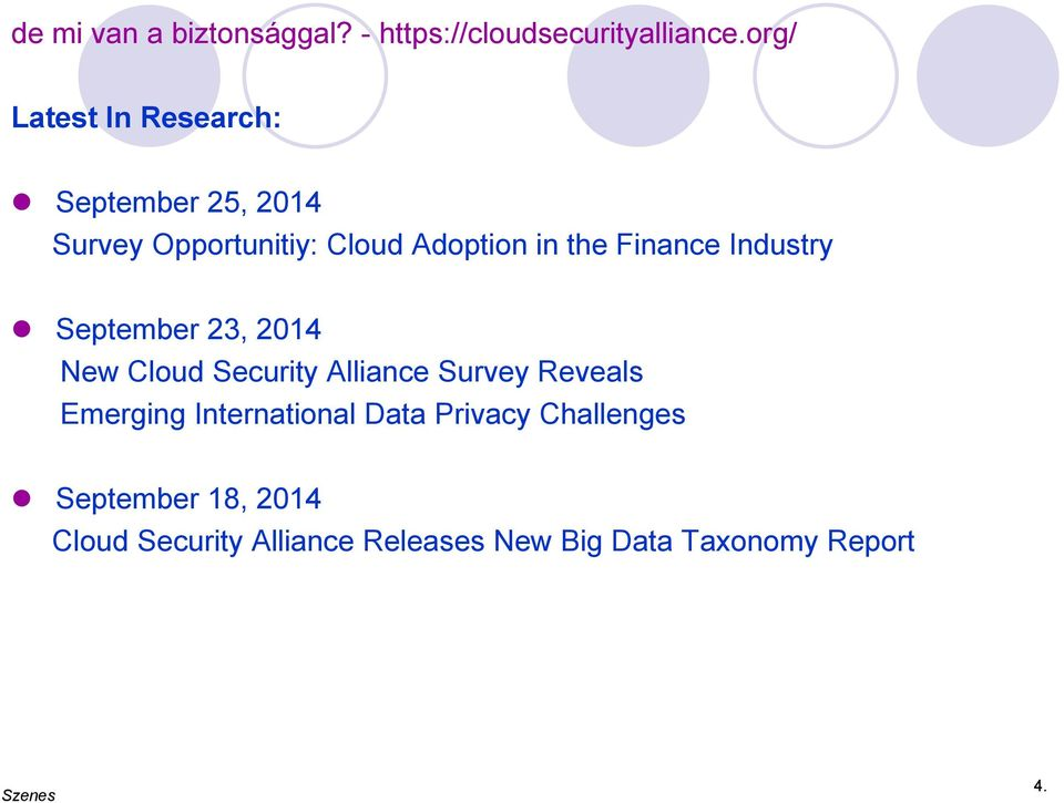 Finance Industry September 23, 2014 New Cloud Security Alliance Survey Reveals Emerging