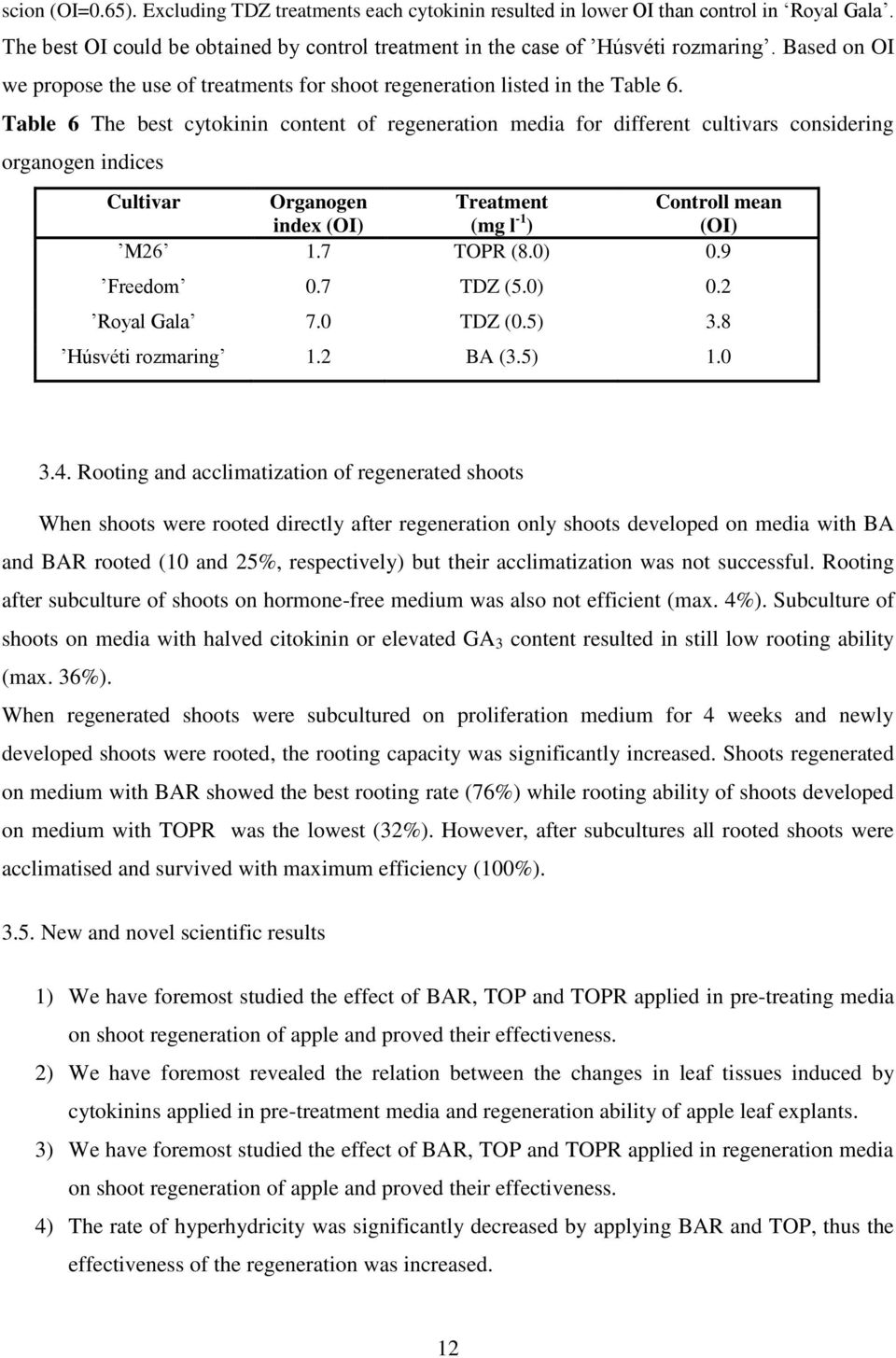Table 6 The best cytokinin content of regeneration media for different cultivars considering organogen indices Cultivar Organogen Treatment Controll mean index (OI) (mg l -1 ) (OI) M26 1.7 TOPR (8.
