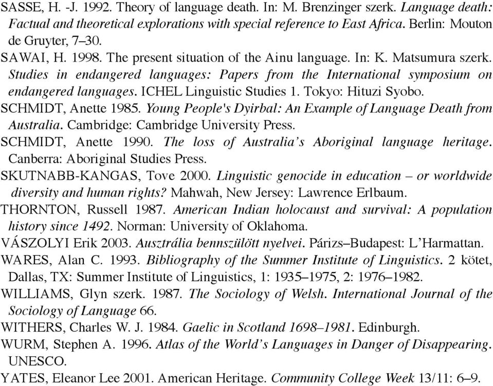 ICHEL Linguistic Studies 1. Tokyo: Hituzi Syobo. SCHMIDT, Anette 1985. Young People's Dyirbal: An Example of Language Death from Australia. Cambridge: Cambridge University Press. SCHMIDT, Anette 1990.