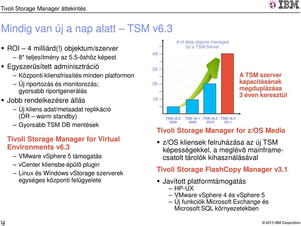 replikáció (DR warm standby) Gyorsabb TSM DB mentések Tivoli Storage Manager for Virtual Environments v6.