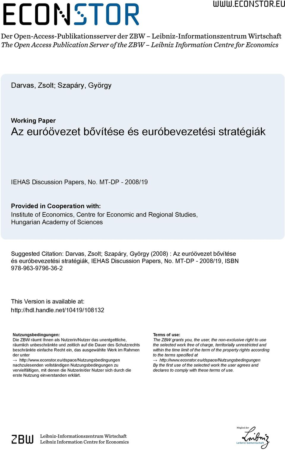 eu Der Open-Access-Publikationsserver der ZBW Leibniz-Informationszentrum Wirtschaft The Open Access Publication Server of the ZBW Leibniz Information Centre for Economics Darvas, Zsolt; Szapáry,
