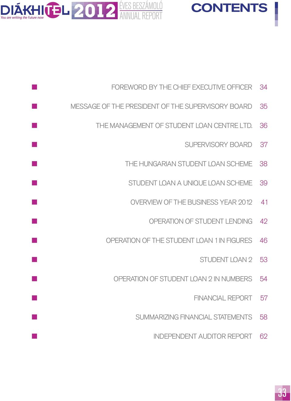 36 SUPERVISORY BOARD 37 THE HUNGARIAN STUDENT LOAN SCHEME 38 STUDENT LOAN A UNIQUE LOAN SCHEME 39 OVERVIEW OF THE BUSINESS YEAR 2012