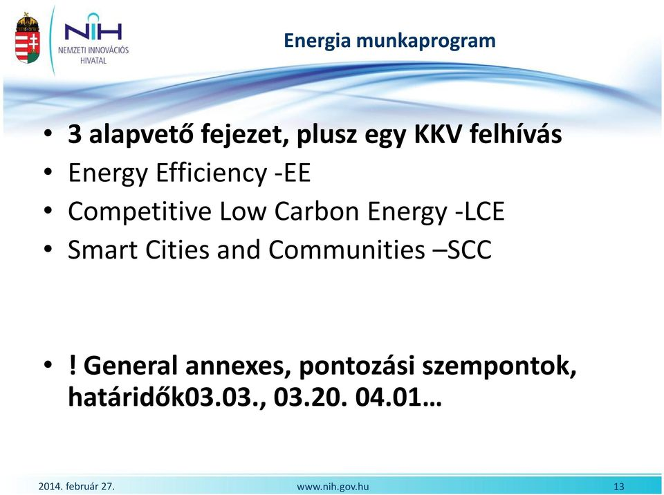 Energy -LCE Smart Cities and Communities SCC!