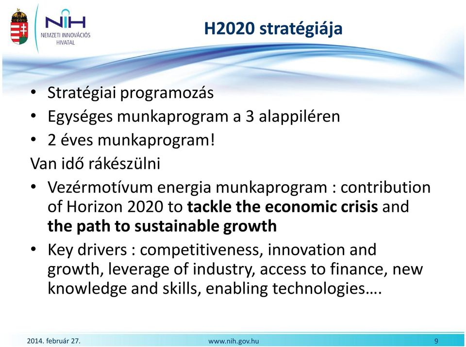 economic crisis and the path to sustainable growth Key drivers : competitiveness, innovation and